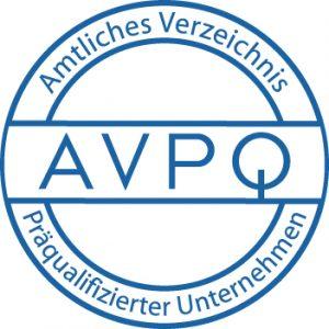 Unser Unternehmen ist im amtlichen Verzeichnis präqualifizierter Unternehmen (AVPQ) geführt.